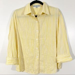 Foxcroft 8 Yellow Stripe Button Front Fitted